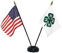 American flag and 4-H flag in stand