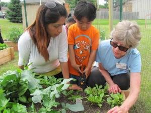 An Extension Master Gardener Volunteer vegetable gardening with a mother and child.