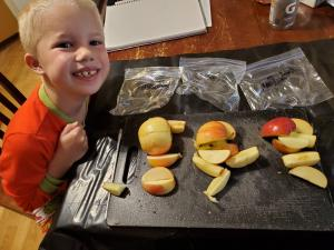 boy with apple slices