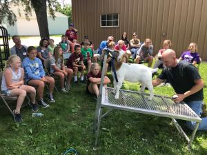 4-H youth with market goat